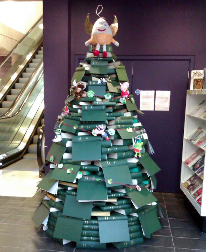 Christmas tree made out of books - perfect for a library